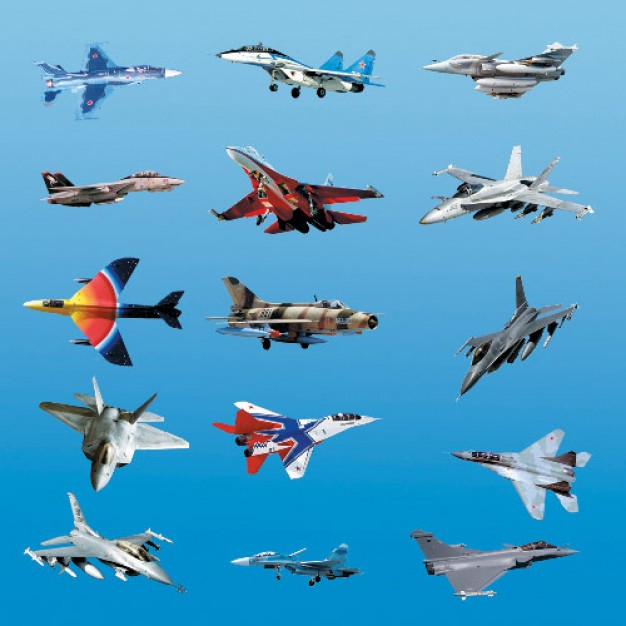 a variety of fighter with blue sky background