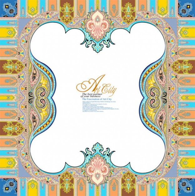 art city european lace border pattern in Abstract style
