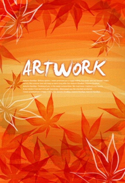 autumn maple leaf with orange background artwork layered material