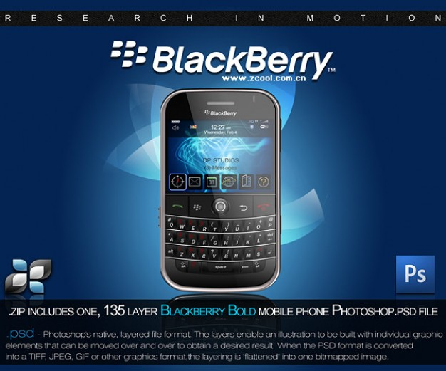 blackberry phones layered material in blue background