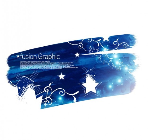 blue fusion graphic series fashion pattern with white stars