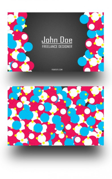 business card design layered material with bubbles