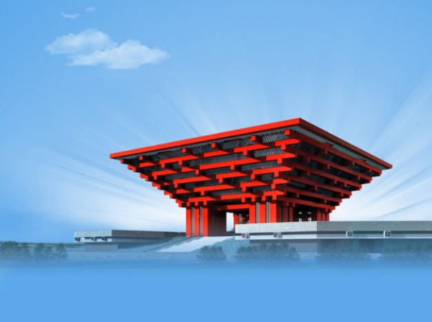 china pavilion at expo with Building Blue sky