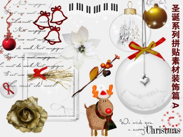 christmas family collage material decoration with Flower elk ball
