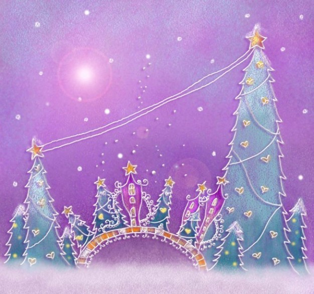 christmas illustration layered pastels painted by hand