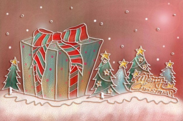 christmas illustration layered pastels with big gift box painted by hand
