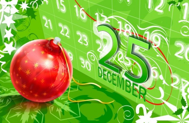 christmas layered red Ball with calendar background