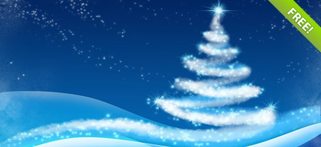 Christmas tree over snowy winter backgrounds
