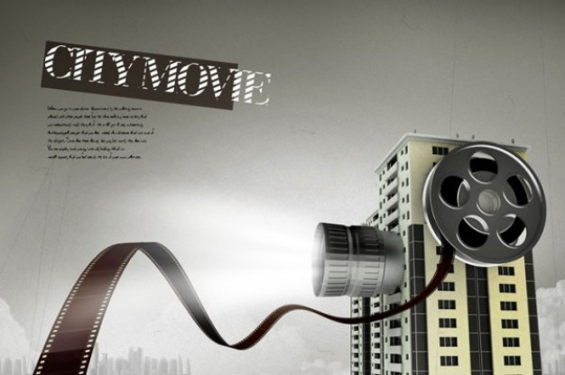 creative film projection flying over building template layered material