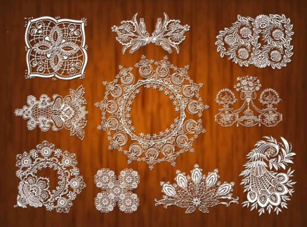 crystal lace pattern material with wood background
