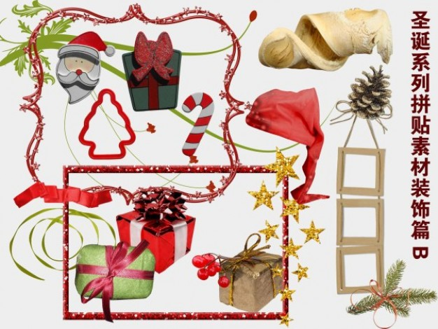 decorative christmas family collage material like hat box tree