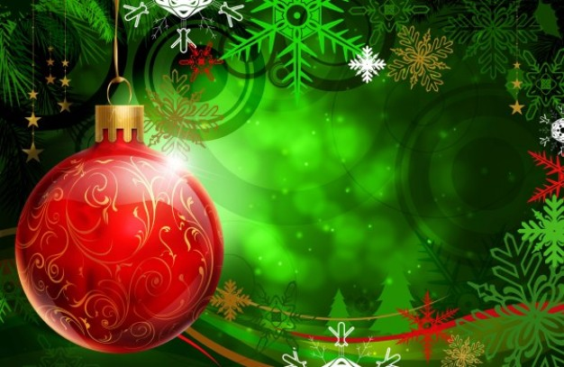dream christmas hanging ball over green light background