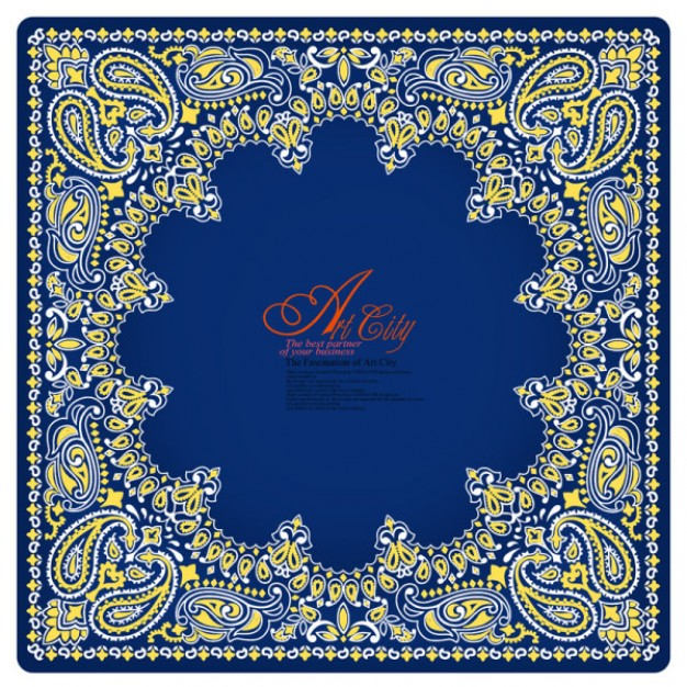 elegant art city european border pattern material in blue in middle