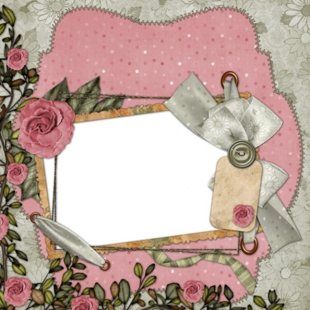 europe and the united states collage style frame with pink flowers