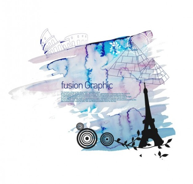 European fusion graphic series fashion pattern with Eiffel tower Pyramid