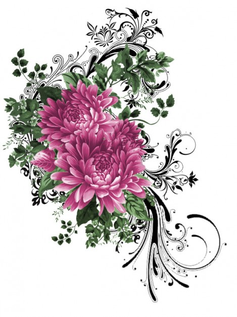 fashion pattern peony flower material painted by hand