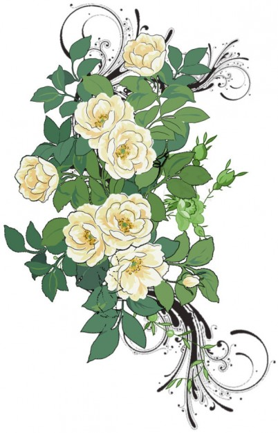 fashion rose flowers pattern material painted by hand