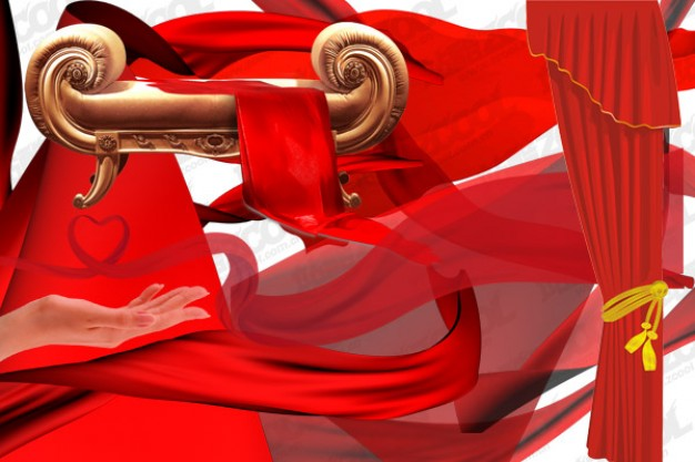 fitment rounded with red flowing cloth layered material