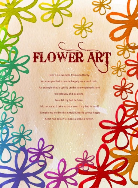 flower art watercolor pattern background arounded with flowers
