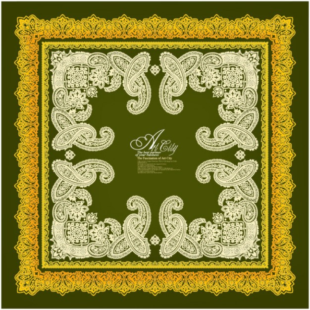 frame pattern material with art city european lace border