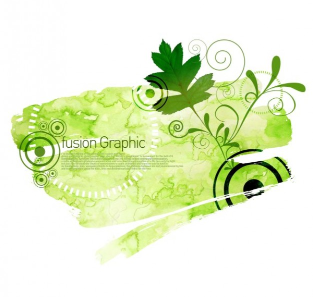 fusion graphic series fashion pattern in green with leaf and target