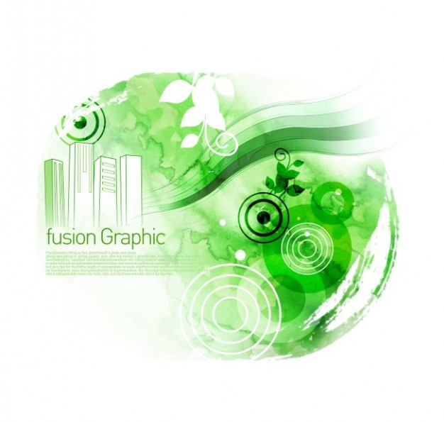 fusion graphic series fashion pattern with building and circle in green and white