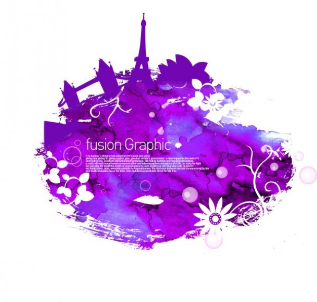 fusion graphic series fashion pattern with eiffel tower in purple style