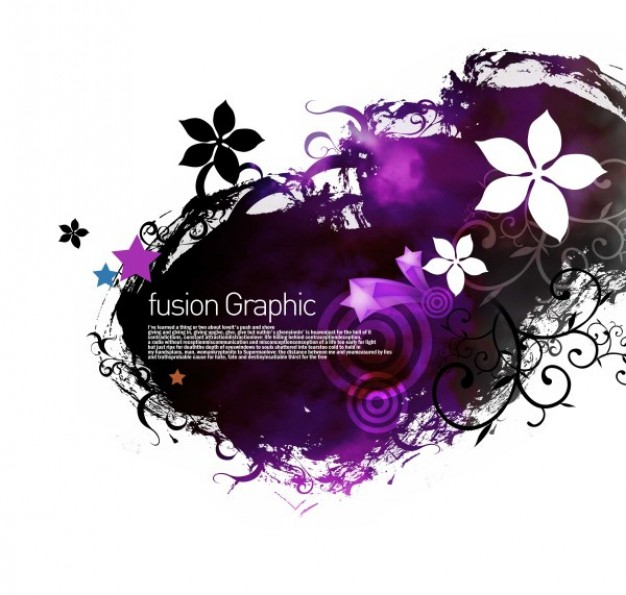 fusion graphic series fashion pattern with flowers and purple ink