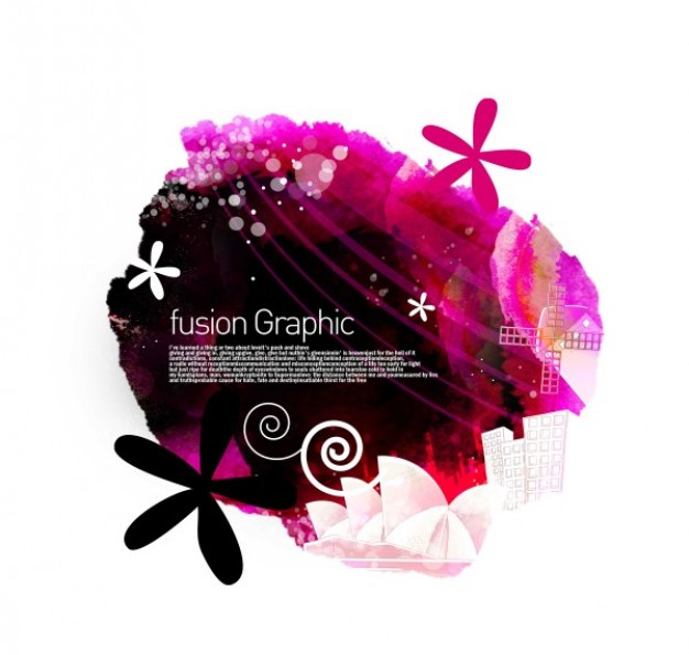 fusion graphic series fashion pattern with flowers in ink