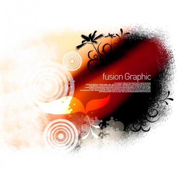 fusion graphic series fashion pattern with sunset Coconut and leaf