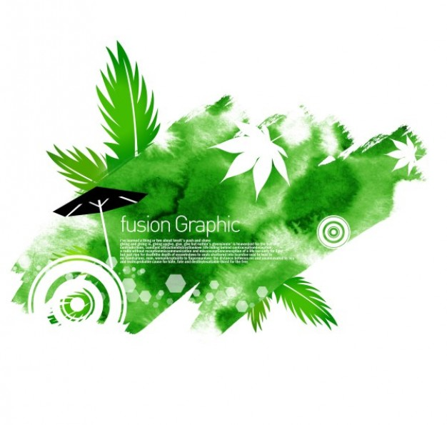 fusion green leaves Umbrella graphic series fashion pattern