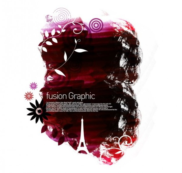 fusion rose graphic series pattern with Eiffel tower