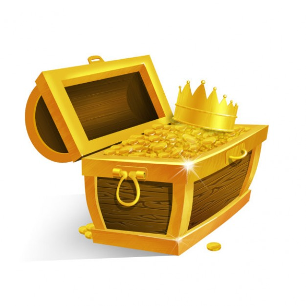 gold box layered material with crown inside