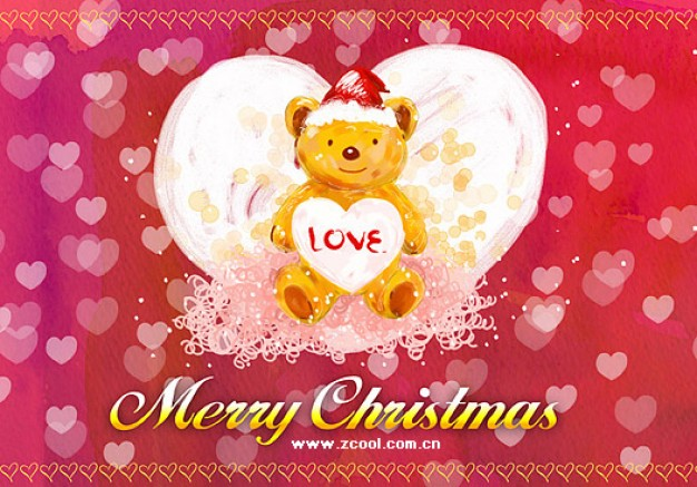 hand painted christmas posters layered material with bear on heart