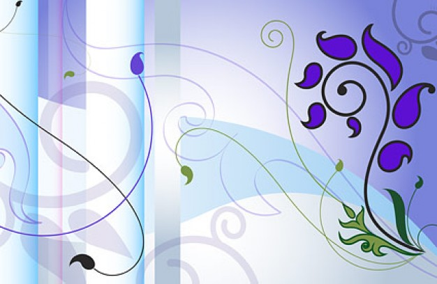 high precision fashion pattern layered with purple flowers and swirl