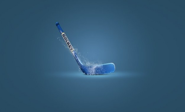 hockey stick icon layered material with light shine and blue background
