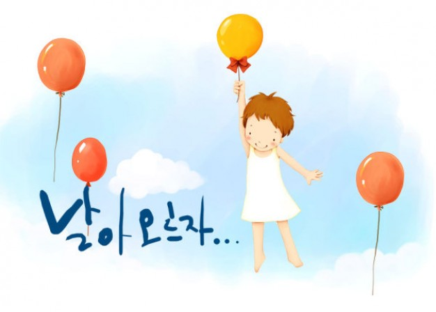 korean children s illustrator material that girl flying by balloon