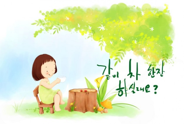 korean children s illustrator material with tree wood cute girl