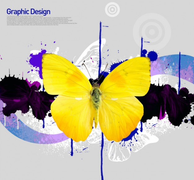 korean design elements layered material with yellow butterfly in ink