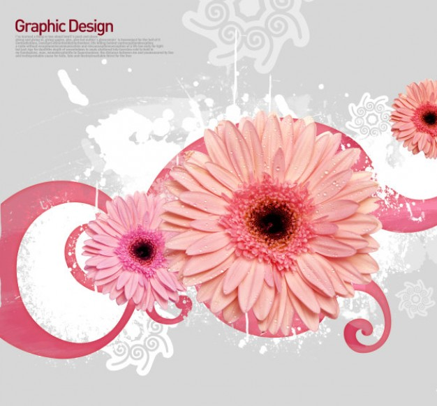 korean design elements layered with flowers and pink swirl