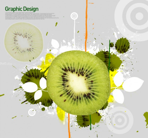 korean design elements layered with kiwi fruit