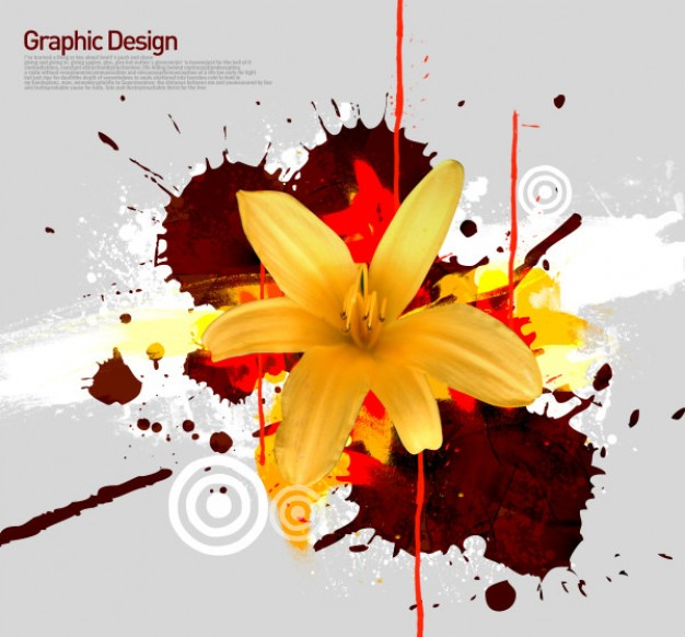 korean design elements layered with yellow flower