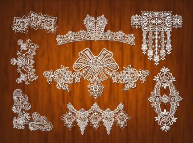lace ribbons ornament material in crystal