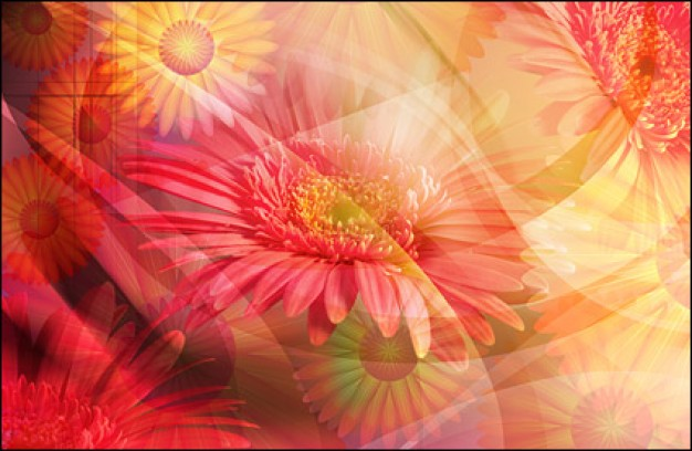 large ultra clear flower theme layered in dream style