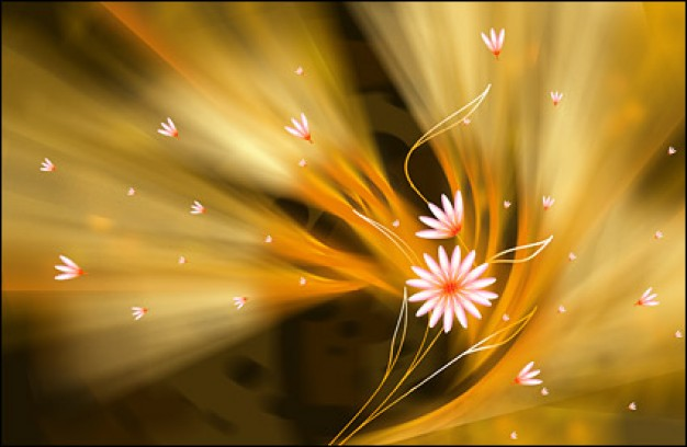 large ultra clear flower theme layered with orange light