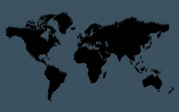 map of the world layered material with dark blue background