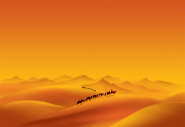 orange desert and camel team landscape layered material