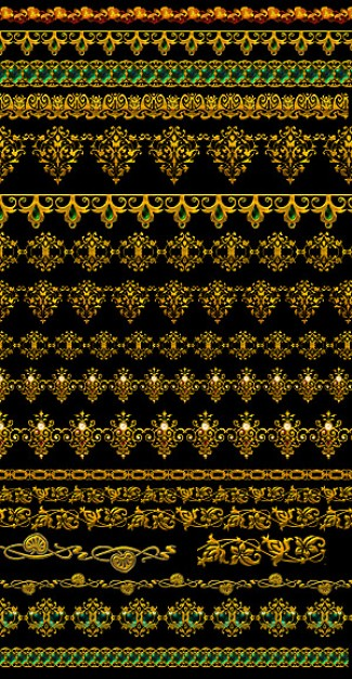pattern material with gold ornate lace layered