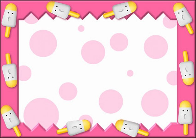 pink disney cartoon frame material arrounded with Popsicles