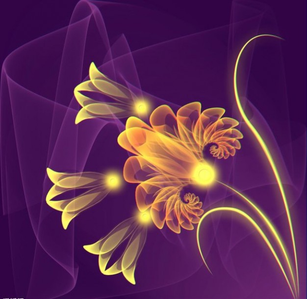 ps golden flowers over purple background